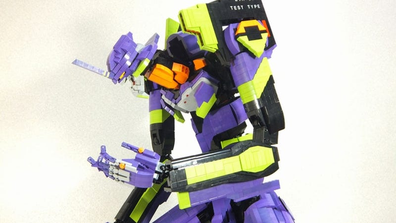 Illustration for article titled This 4-Foot Tall LEGO Evangelion Could Probably Kick Your Ass