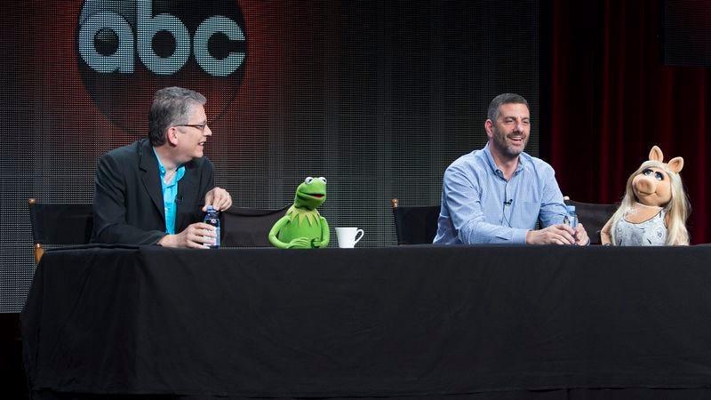 The Muppets' Bill Prady (left), Kermit The Frog, Bob Kushell, Miss Piggy