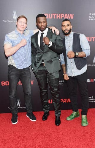 "Rapper-actor Curtis ""50 Cent"" Jackson (center) and actors Joseph Sikora and Omari Hardwick attend the New York City premiere of Southpaw for The Wrap at AMC Loews Lincoln Square on July 20, 2015.Michael Loccisano/Getty Images"