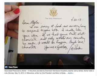 Illustration for article titled Joe Biden Gives Child's Adorable Gun Proposal a Written Endorsement