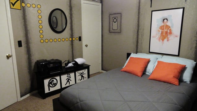 Portal themed bedroom isn 39 t a lie is incredible for Geek bedroom ideas