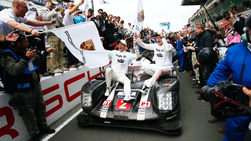 Romain Dumas and Marc Lieb celebrate their 24 Hours of Le Mans win. Photo credit: Porsche