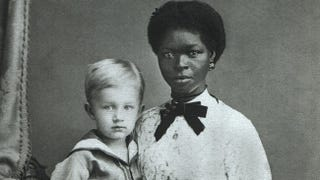 Example of 1870s domestic service: Eugen Keller and an unnamed nanny in Pernambuco, Brazil, circa 1874, where slavery was still legal at the time. (George Ermakoff/Wikimedia Commons)