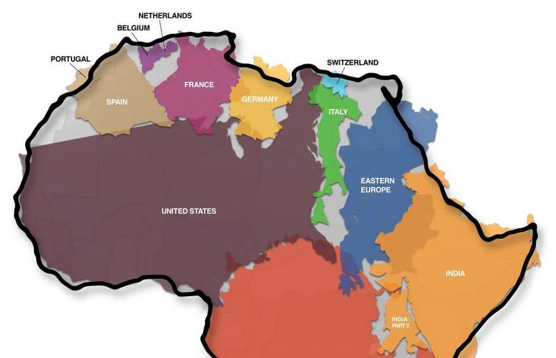 Illustration for article titled Te costará creer el auténtico y descomunal tamaño de África