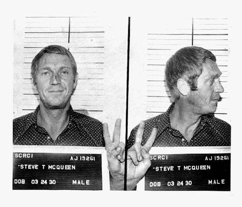 Illustration for article titled Even In A Mugshot, Steve McQueen Is Cooler Than You