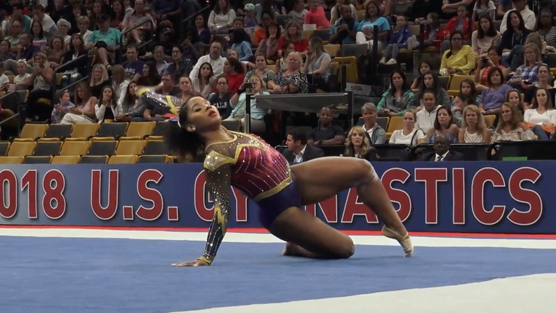 Jordan Chiles harnesses the strength of Wonder Woman to compete at the USA Gymnastics Championships.