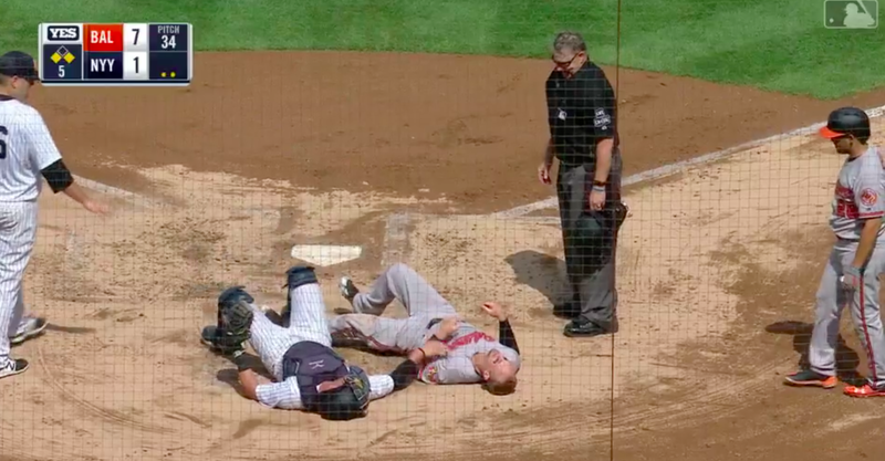 Illustration for article titled Whatever Caleb Joseph Was Doing On This Home-Plate Play, It Didn't Work
