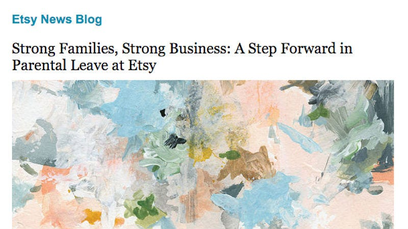 Illustration for article titled Etsy Joins Spotify By Announcing 6 Months Parental Leave