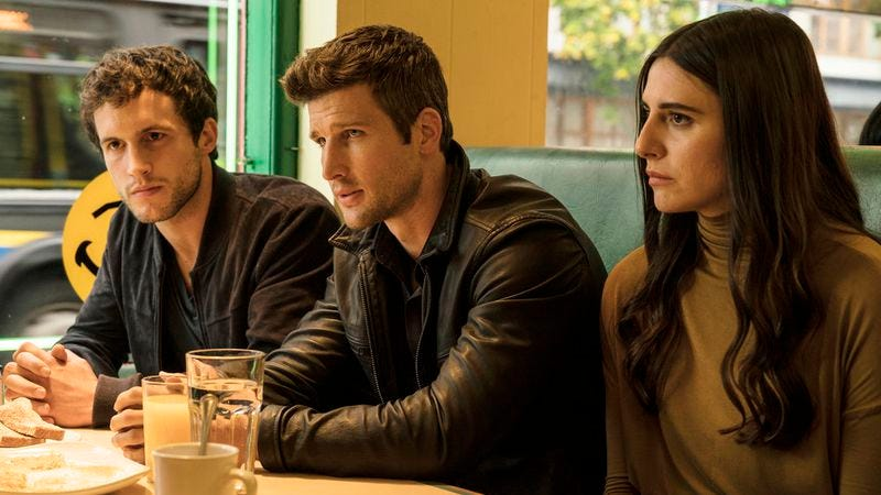 Rob Heaps (left), Parker Young, and Marianne Rendon in Imposters (Photo: Ed Araquel/Bravo)