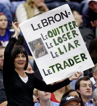 Illustration for article titled Lady At Cavs Game Confused By LeHomophone