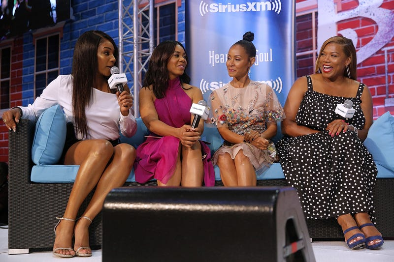 The cast of the movie Girls Trip, Tiffany Haddish, Regina Hall, Jada Pinkett Smith and Queen Latifah speak during the Essence Music Festival at the Ernest N. Morial Convention Center on June 30, 2017 in New Orleans, Louisiana.