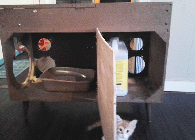 build secret litter box storage in a stereo cabinet cat litter cabinet diy