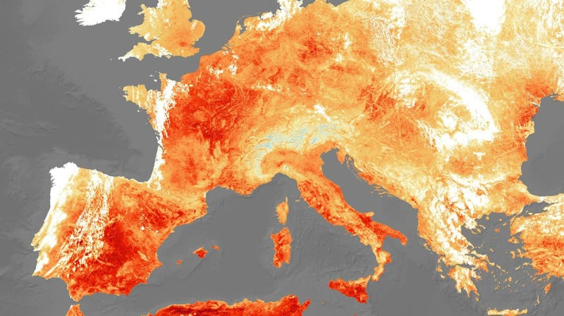 Satellite data of heat energy emitted from Europe on July 25, 2019, showing the current summer's highest extremes.