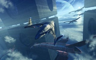 Illustration for article titled An Interdimensional Spaceport Off the Coast on Titan