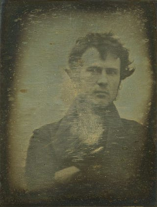 """Illustration for article titled This was the first-ever """"selfie,"""" taken in 1839"""