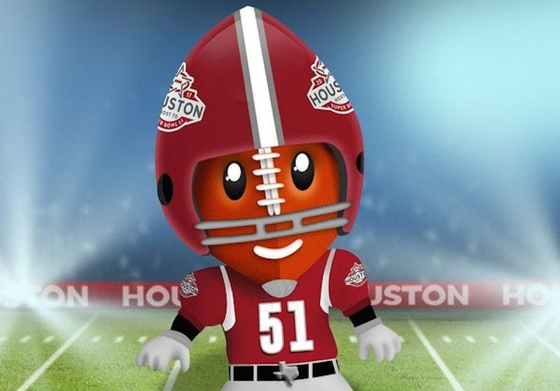 Illustration for article titled I Want To Punt The Houston Super Bowl Mascot's Dumb Head