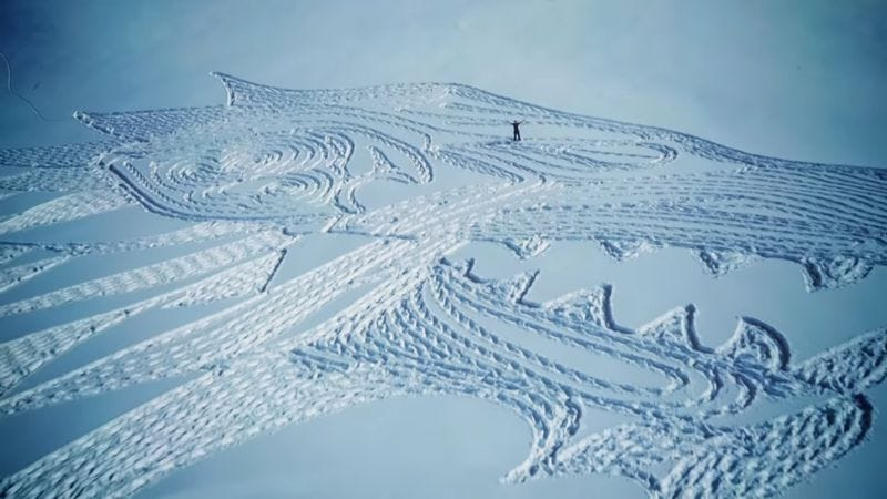 Illustration for article titled Artist Simon Beck creates massive Game Of Thrones fan art in the snow