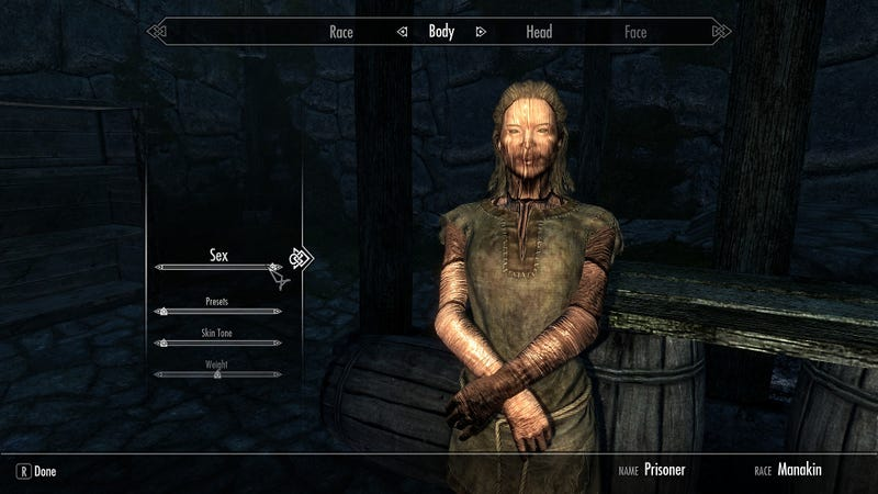 Illustration for article titled Skyrim Mod Lets You Marry Creepy Wooden People