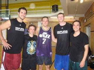 """Illustration for article titled Look At This Fucking Hoopster: """"Kelly Tripucka"""" Hangs Out With San Antonio Spurs, Is Lead Singer Of Arcade Fire"""