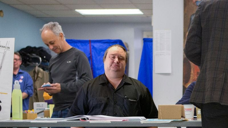 Illustration for article titled Voter Dreading Being Sent Over To Visibly Stupid Poll Worker