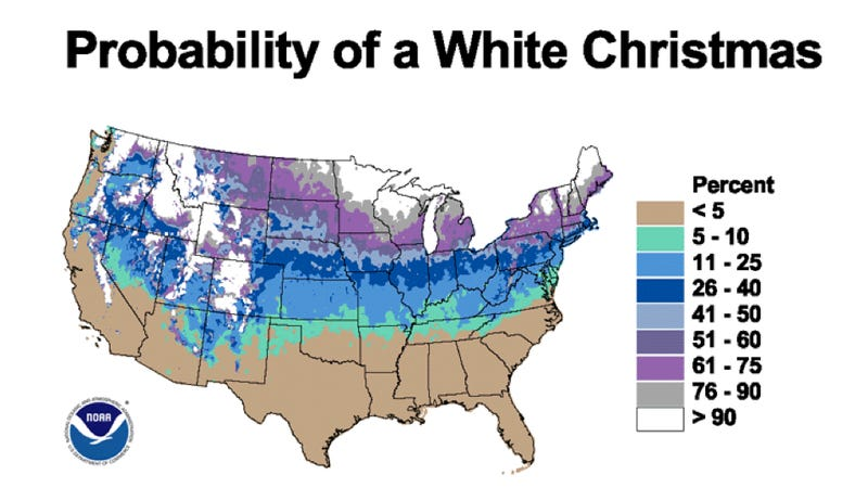 Illustration for article titled Here are your odds of experiencing a White Christmas