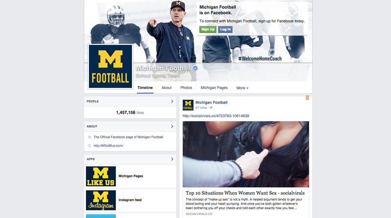 Illustration for article titled Michigan Sports' Facebook Pages Hacked, Overloaded With Butts