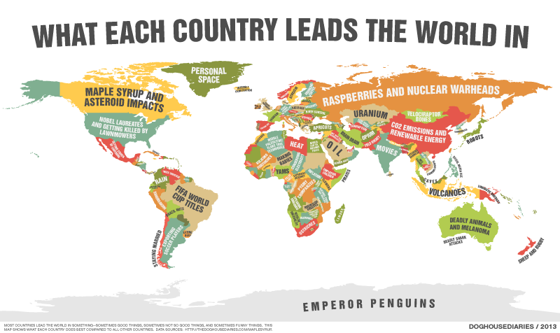 Illustration for article titled This cheeky map shows what each country leads the world in
