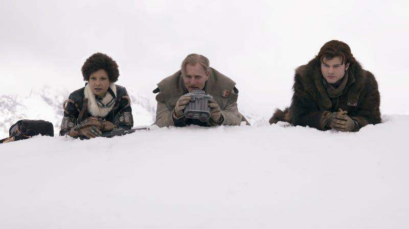 Thandie Newton, Woody Harrelson, and Alden Ehrenreich in Solo.