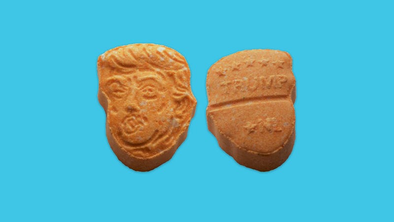 fun police confiscate thousands of ecstasy pills that look like trump