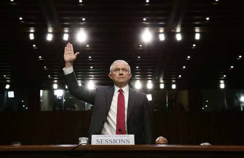Attorney General Jeff Sessions is sworn in prior to testifying before the Senate Intelligence Committee on Capitol Hill in Washington, D.C., on June 13, 2017. (Alex Wong/Getty Images)