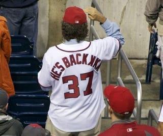 "Illustration for article titled Well-Meaning Nats Fan Breaks Out The ""HE'S BACK KKK"" Jersey For Stephen Strasburg's Return"