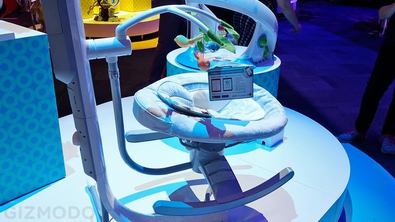 Illustration for article titled This Cradle Lets You Remotely Rock Your Baby To Sleep From Your Phone