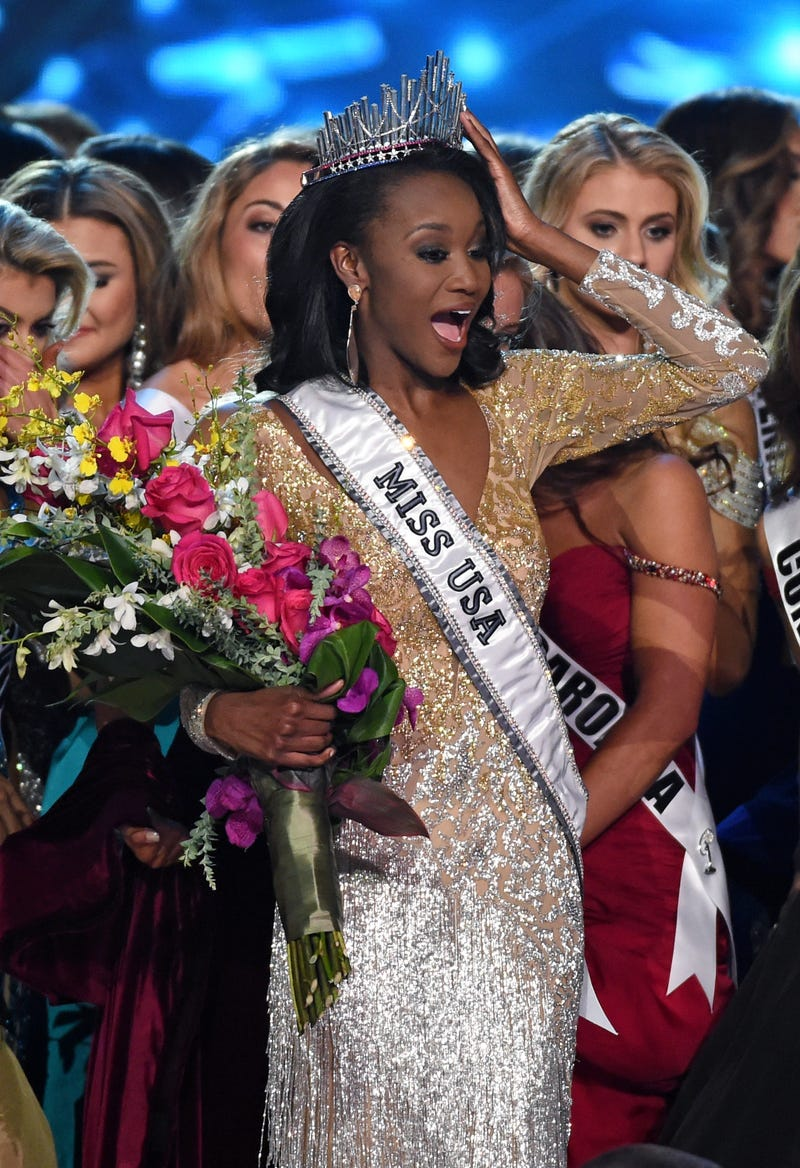 Deshauna Barber, Miss District of Columbia, is surrounded by fellow contestants after being crowned Miss USA 2016 during the Miss USA pageant  June 5, 2016, in Las Vegas.Ethan Miller/Getty Images