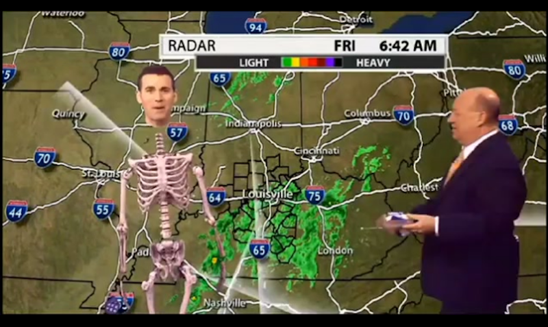 Illustration for article titled Local Meteorologist Delivers the Weather As a Green Screened Skeleton