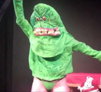 Illustration for article titled Ghostbusters burlesque foists a buxom Slimer upon unsuspecting audience (slightly NSFW)