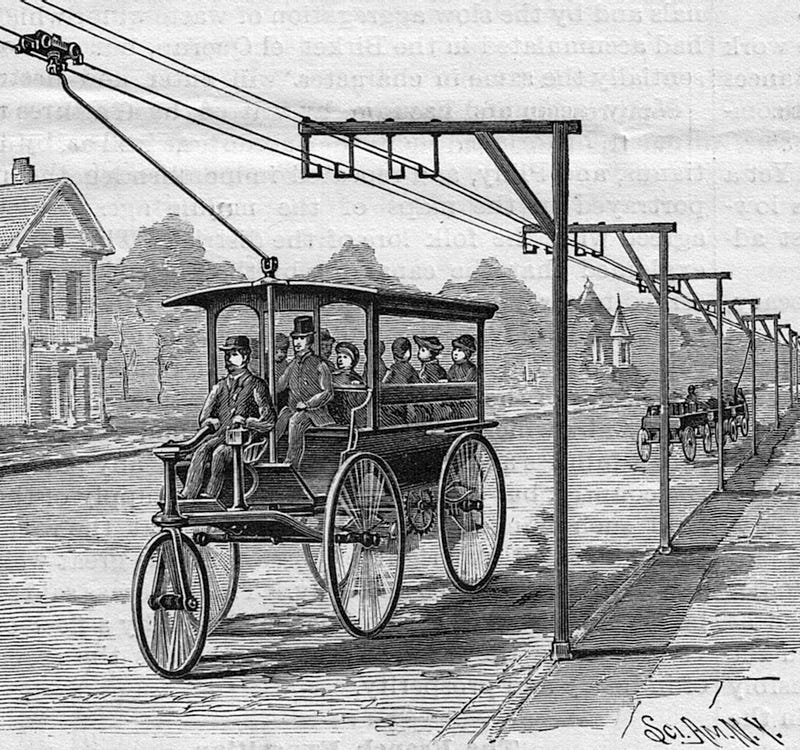 "The ""electrically propelled carriage"", scanned from the July 27, 1889 issue of Scientific American magazine"