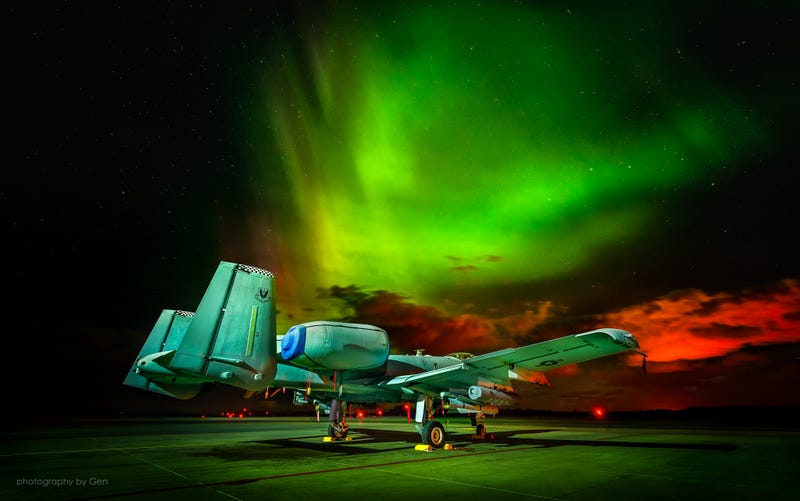 Illustration for article titled Forward Deployed A-10 Warthogs Bathe Under The Aurora Borealis In Estonia
