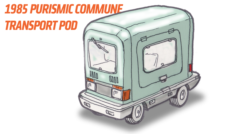 Illustration for article titled An Imaginary Car From An Imaginary Country: 1985 Purismic Commune Transport Pod