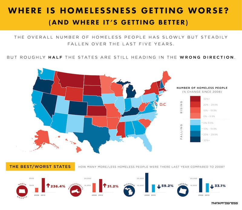 Where Homelessness Is Getting Worse Its Not The Places Youd Think - Chronic homelessness across the us map