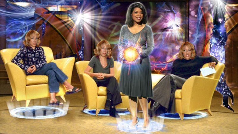 Flanked by three Gayles, Oprah harnesses the power of an unstable isotope on the set of her new universe.