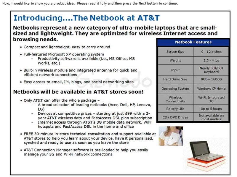 Illustration for article titled AT&T Stores to Stock Netbooks?