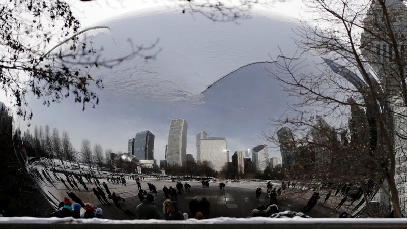 Chicago, Illinois' reflective Cloud Gate sculpture covered in snow. Photo: AP