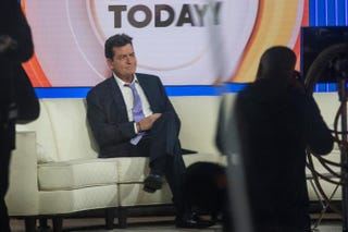 Actor Charlie Sheen waits on the set of the Today show in New York City on Nov. 17, 2015, before formally announcing that he is HIV-positive in an interview with Matt Lauer.Andrew Burton/Getty Images