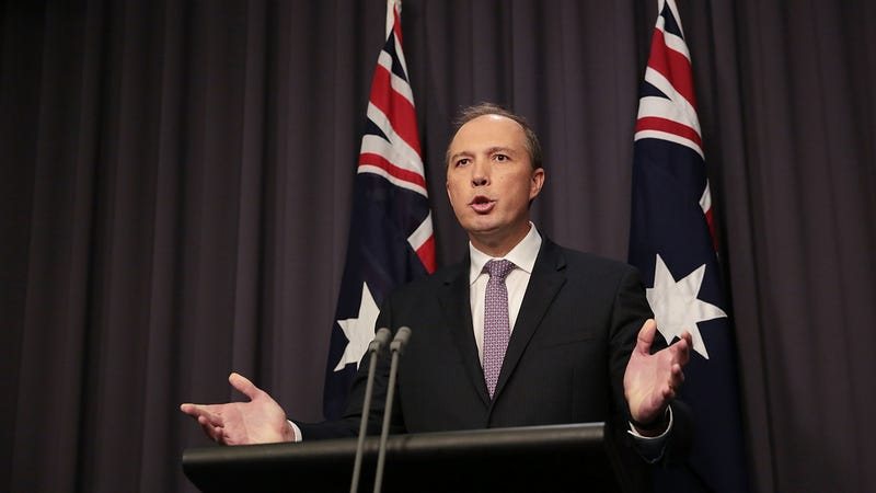 Peter Dutton speaks to the media at Parliament House on May 3, 2016, in Canberra, Australia.