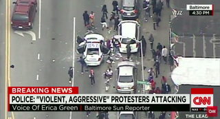 Footage of media coverage of the unrest in BaltimoreScreenshot/CNN