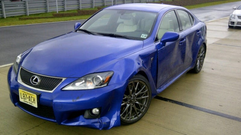 Illustration for article titled Auto journalist crashes Lexus IS F because he's an auto journalist