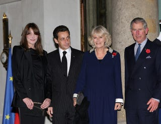 "Illustration for article titled Bruni & Sarkozy Bid ""Bonjour"" To Camilla & Charles"