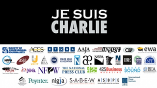 More than 30 journalism organizations added their names to an image symbolizing solidarity with the staff of Charlie Hebdo.Poynter Institute