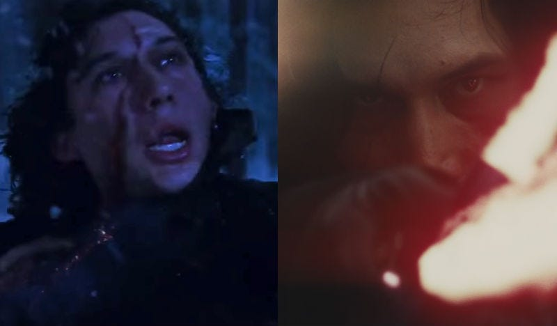 Kylo Ren in The Force Awakens and The Last Jedi. Images: Disney