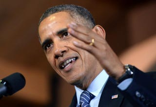 President Barack Obama at Michigan State University in Lansing, Mich., on Feb. 7, 2014JEWEL SAMAD/AFP/Getty Images